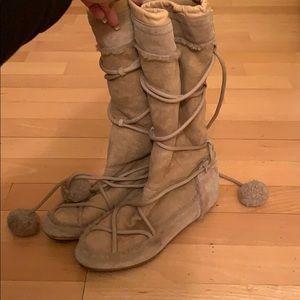 Dior suede shearling Pom Pom boots sz 38